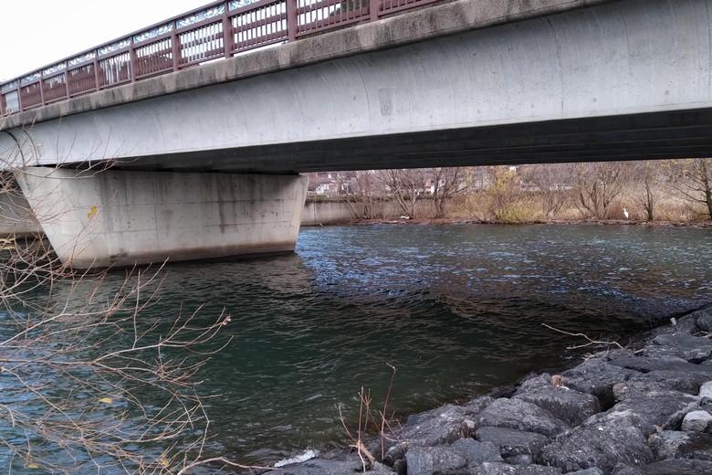 方や漁港の近くの橋の下