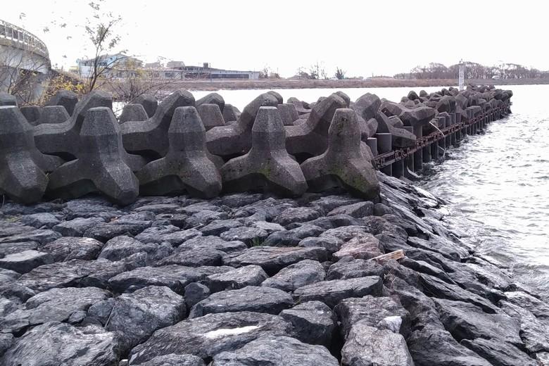 片山の石積み護岸とテトラブロック