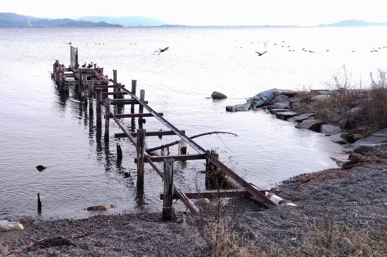 南浜水泳場の桟橋と突堤