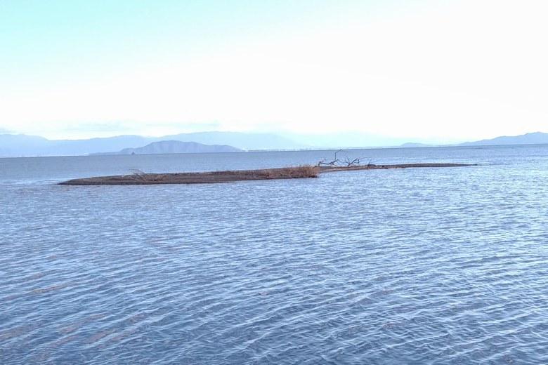 安曇川北流の河口沖にあるサンドバー