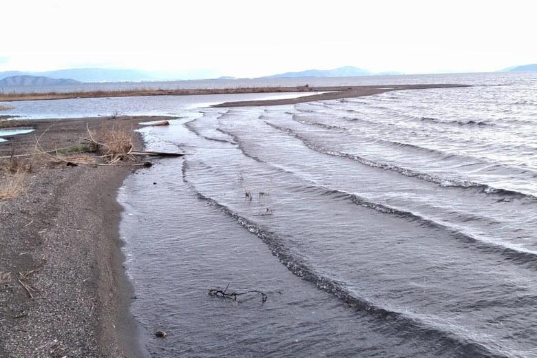 安曇川南流の河口のサンドバー