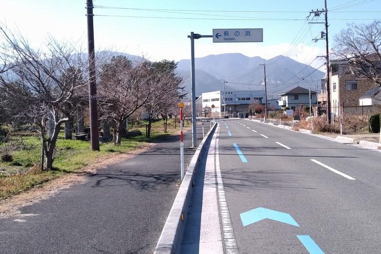 萩の浜の前を通る県道304号線
