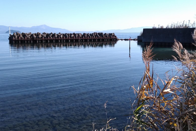 浜分漁港の出口とテトラブロック