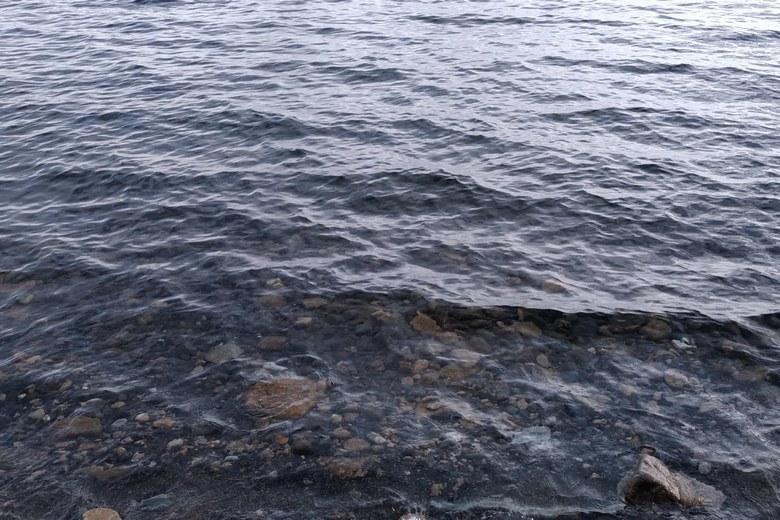 海津大崎の砂利浜と石