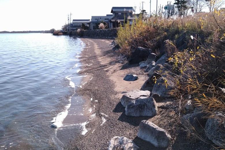 木津浜の南側の浜と護岸