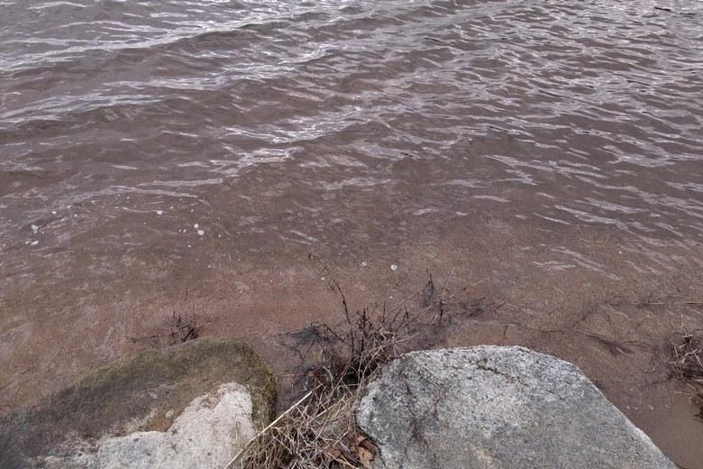 砂で浅くなっている大浦川の河口