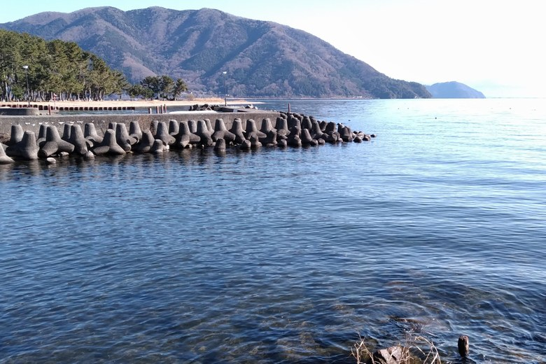 知内漁港とテトラブロック
