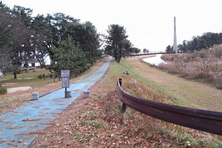 知内川の横の歩道