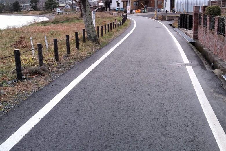 八屋戸川の南側の道路