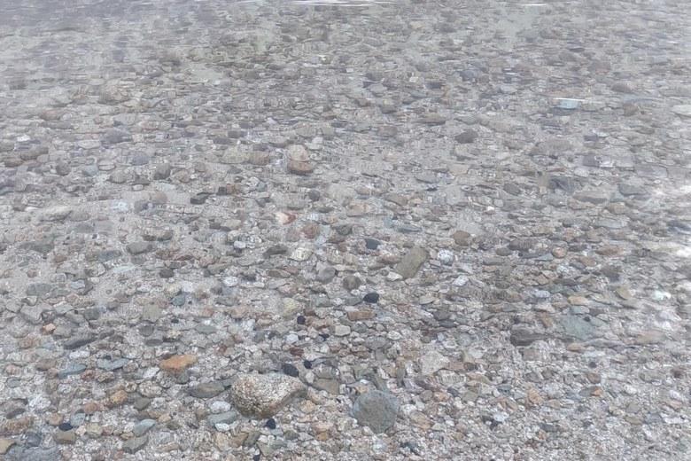 比良川河口のボトムの石