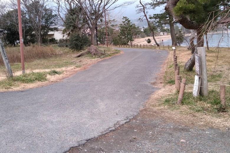 和邇浜沿いの道