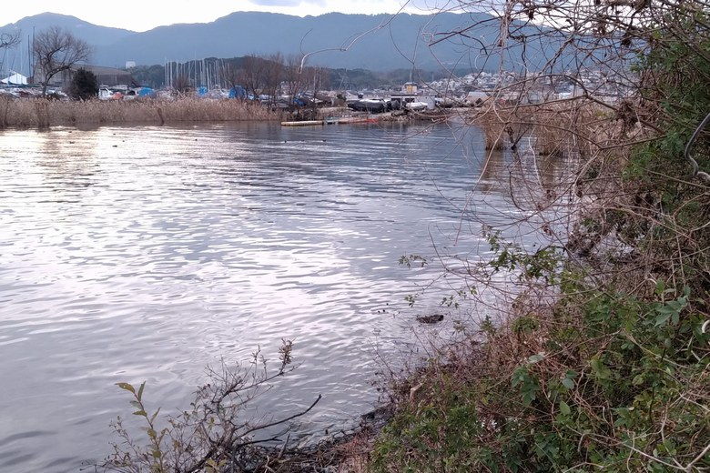 雄琴川の南にあるボートクラブ