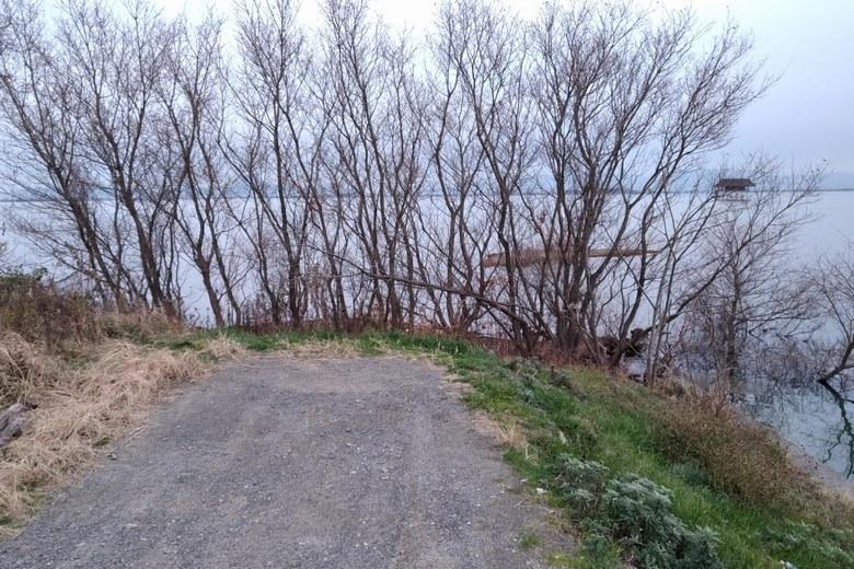 雄琴川の河口の道の先端