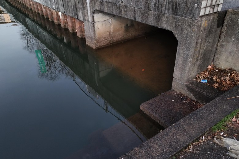 雄琴港の北端にある排水口