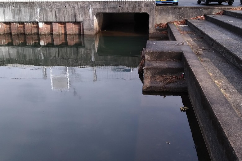 雄琴港の北端の角にある排水口
