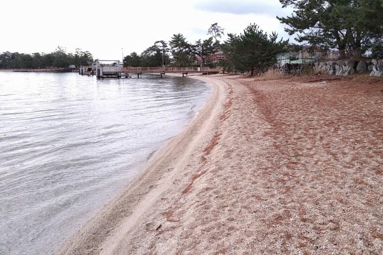 砂浜とビアンカ桟橋