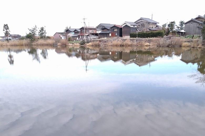 乙女ヶ池の東の護岸と民家