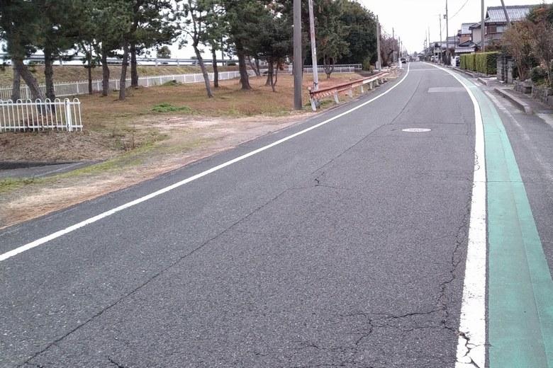 乙女ヶ池の東の道路