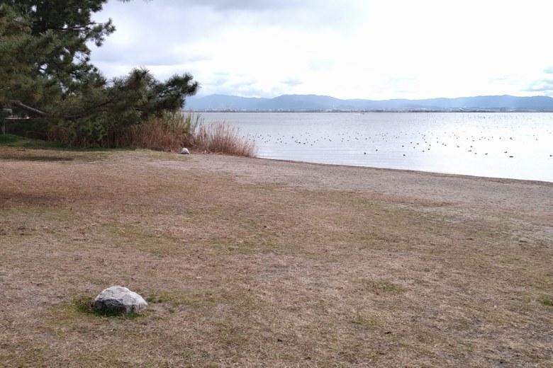 新唐崎公園の芝生と砂浜