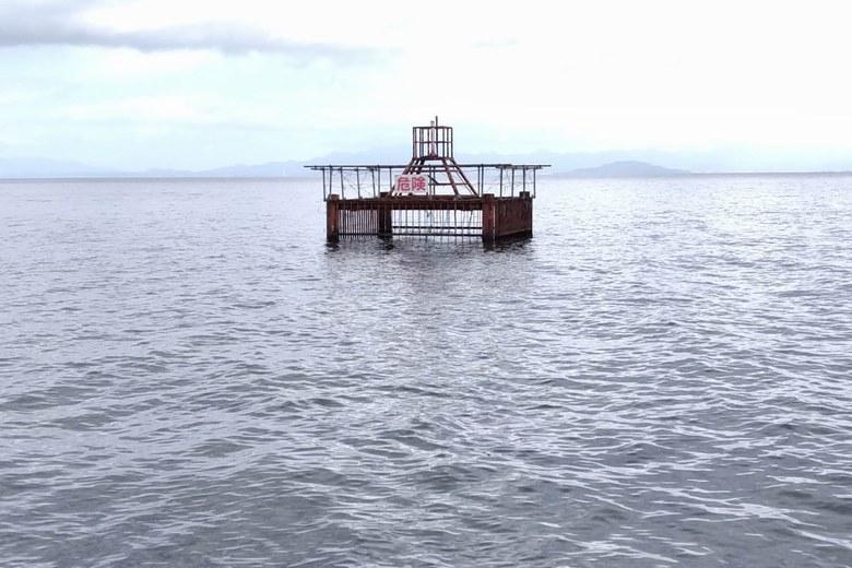 滝川河口にある取水塔