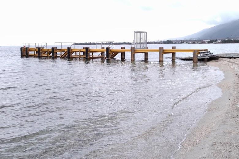 滝川河口の南にある桟橋
