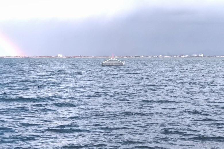柳が崎の沖にある取水塔