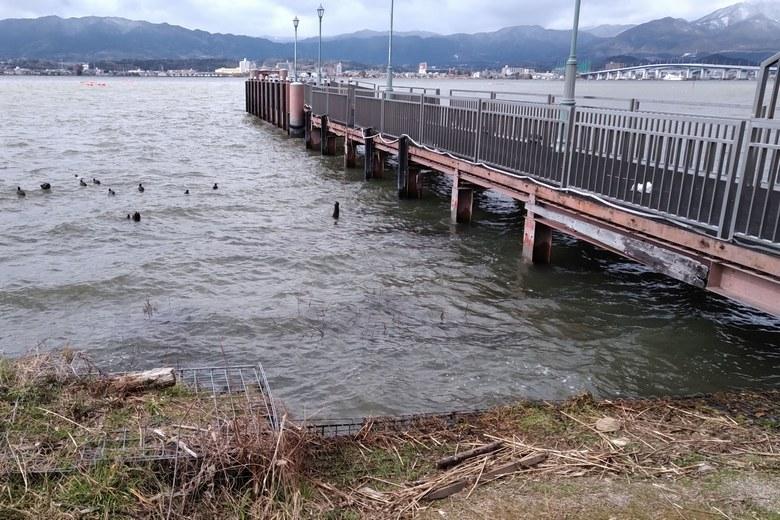 木浜の湖岸にある桟橋