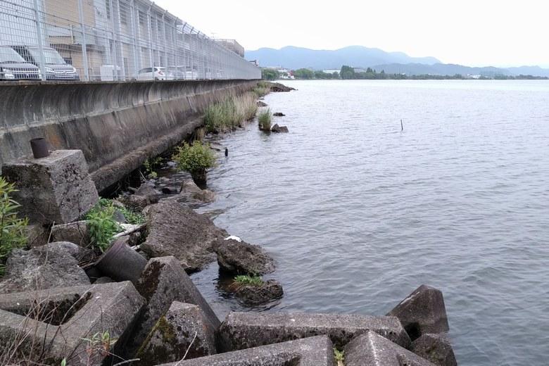 長浜水道企業団裏の、ゴロタ石が積まれたエリア