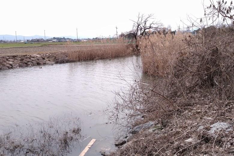 下物内湖の南西にある水路