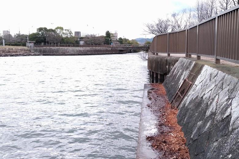 相模川の河口と、西側の護岸