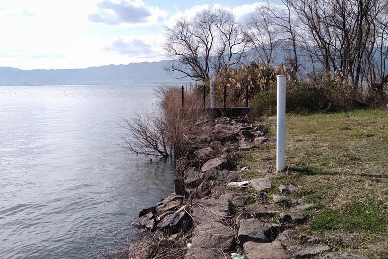 湖岸緑地沿いの石積み護岸とブッシュ