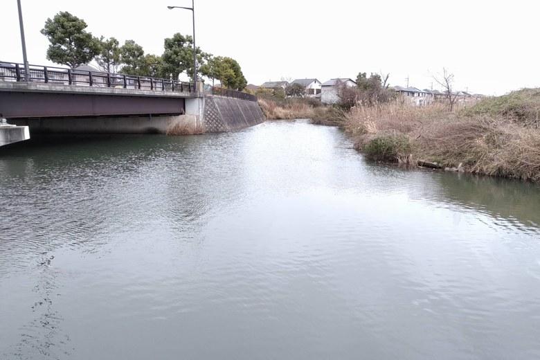 木浜2号水路の奥の、1号水路との合流点