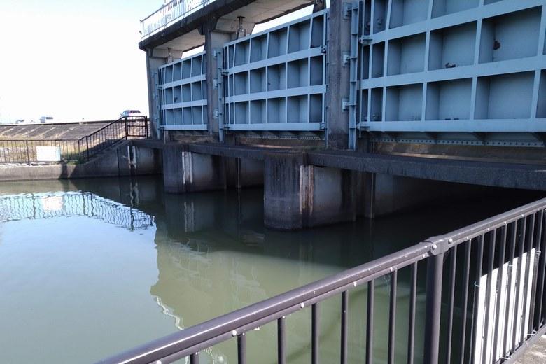 琵琶湖側から見た、山寺川の水門