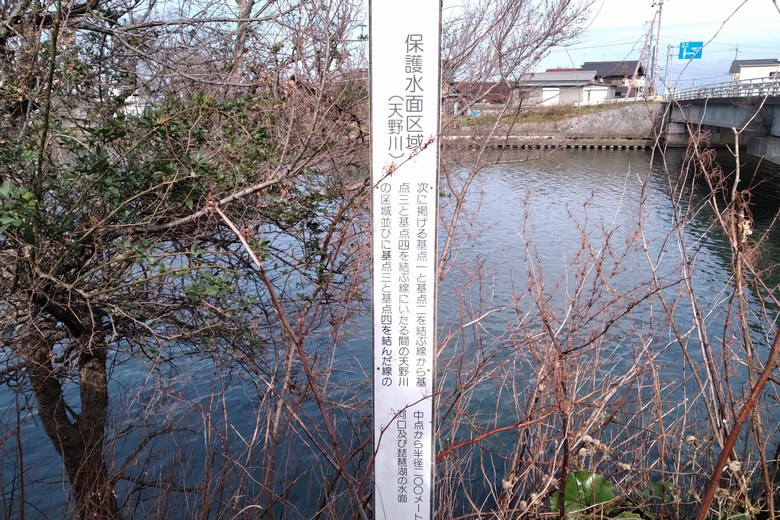 天野川の保護水面区域の案内板