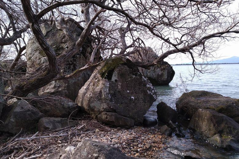 長命寺のロックエリアにある、巨大な岩