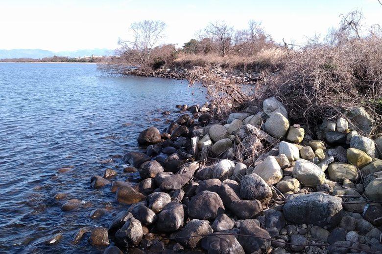 愛知川の沖へ続く石積み