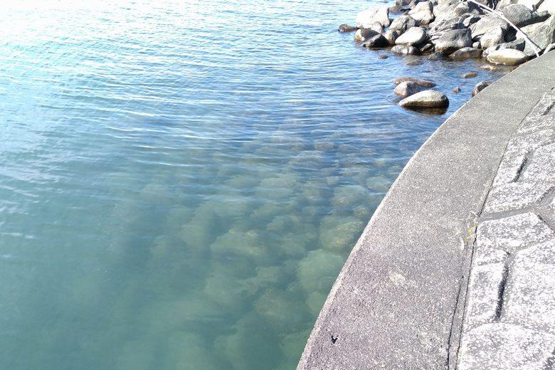 底から水面まで積まれた、大量のゴロタ石