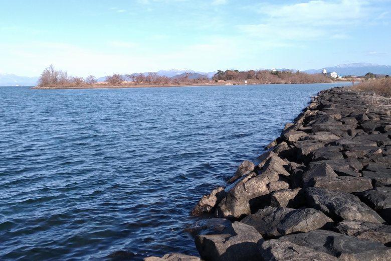 南の石積み護岸から見た、愛知川河口
