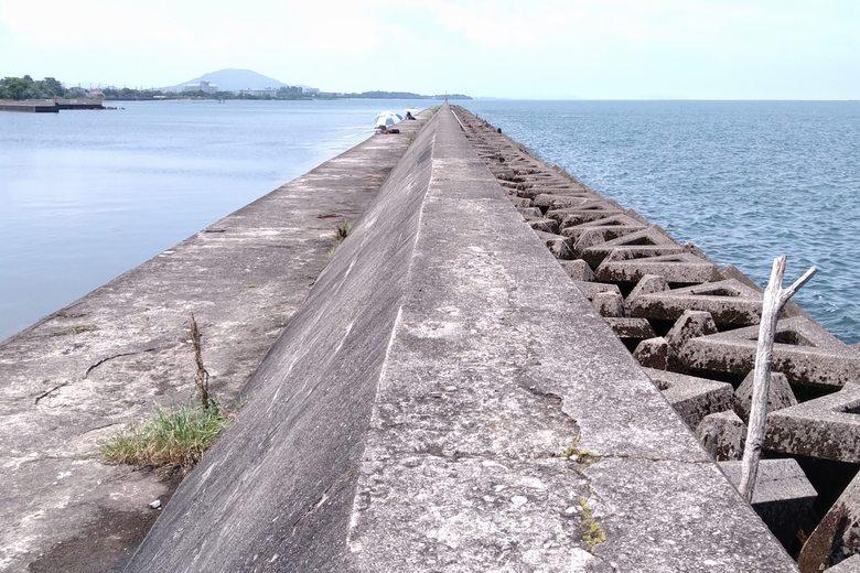 彦根港の大突堤とテトラブロック