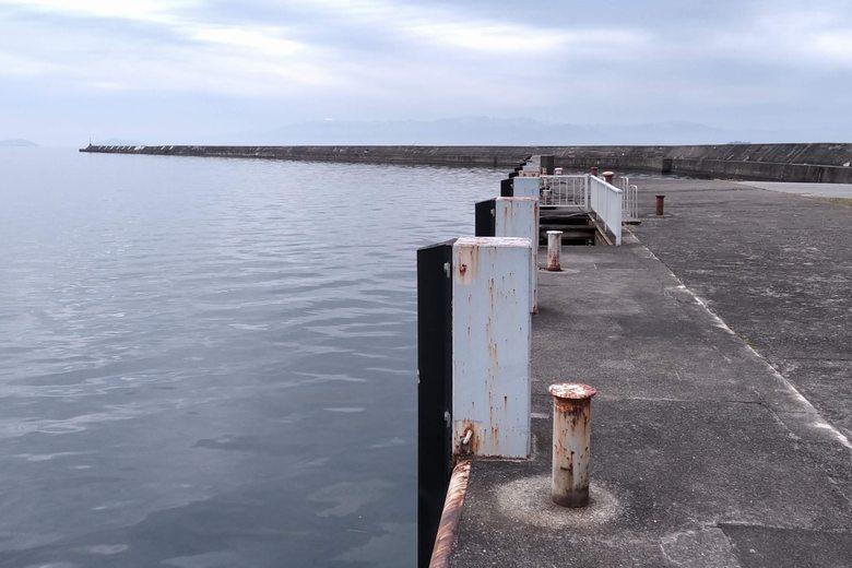 彦根港の奥の、船着き場の護岸