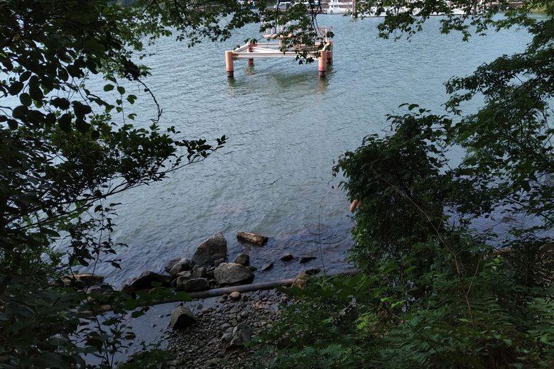 堀切湾の奥の南岸と取水塔