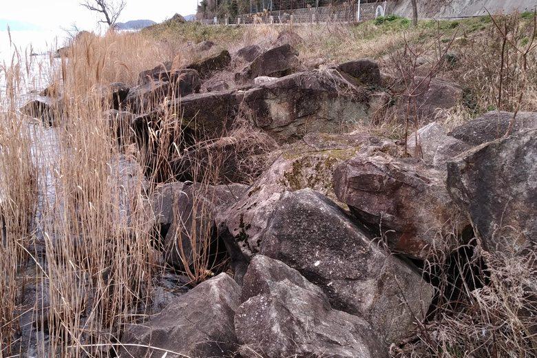 水ヶ浜の南の張り出しエリアの大岩