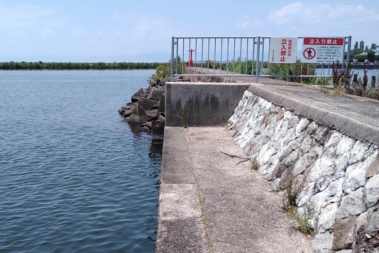 長浜港の小突提のテトラブロック