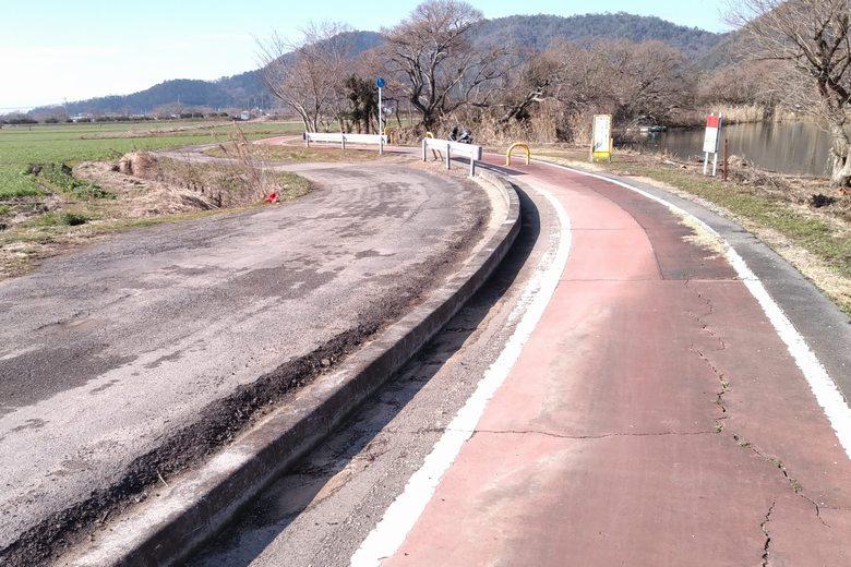 西の湖の南の道路