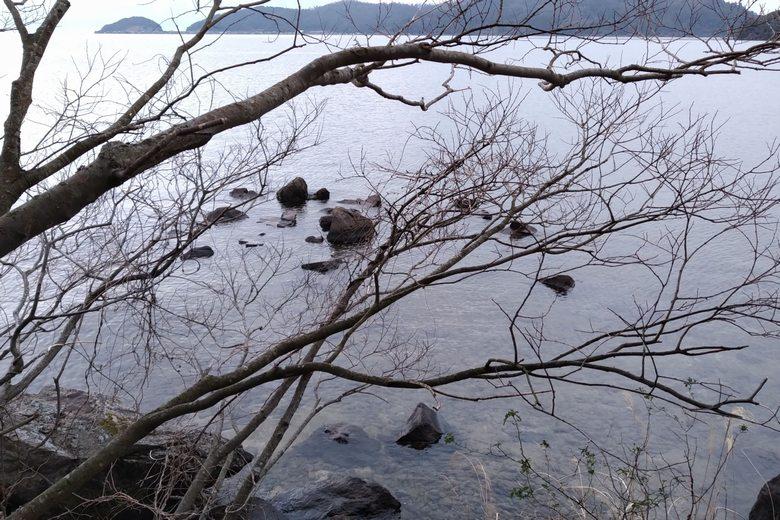 沖に伸びる岬と水中岬
