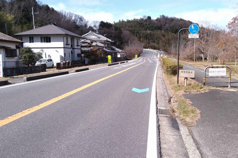 岡山園地の前を通る、県道559号線