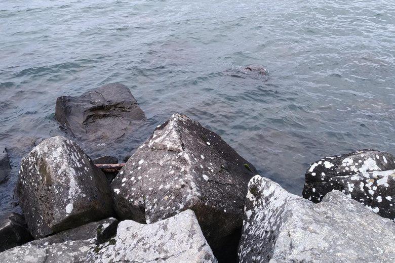 水中にも沈んでいる大岩