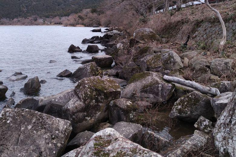 猿ヶ崎の北側の岸辺と岩