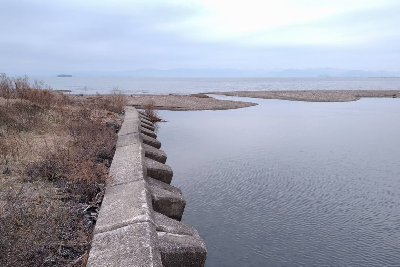 芹川河口のブロック護岸と河口