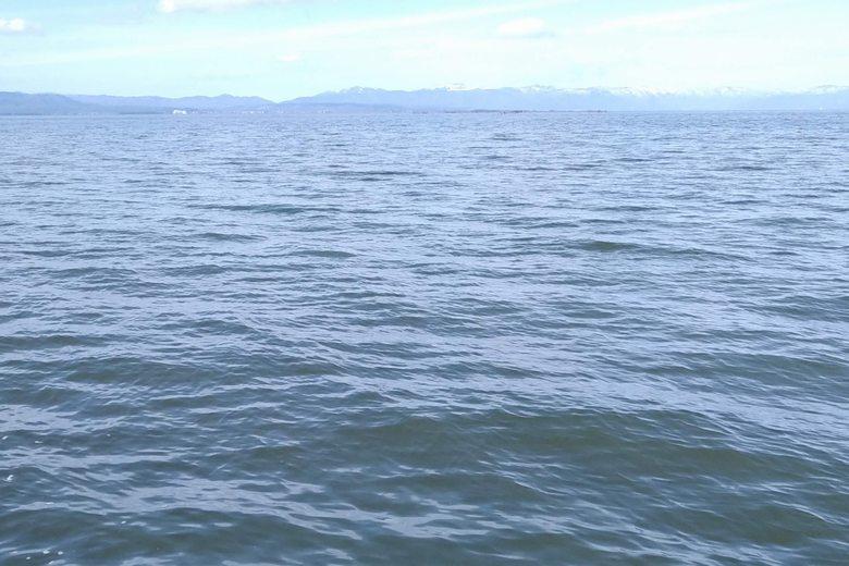 田附の突提から見た、琵琶湖の沖